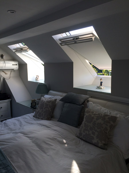 Loft conversion bedroom with velux windows in Littlehampton, Sussex