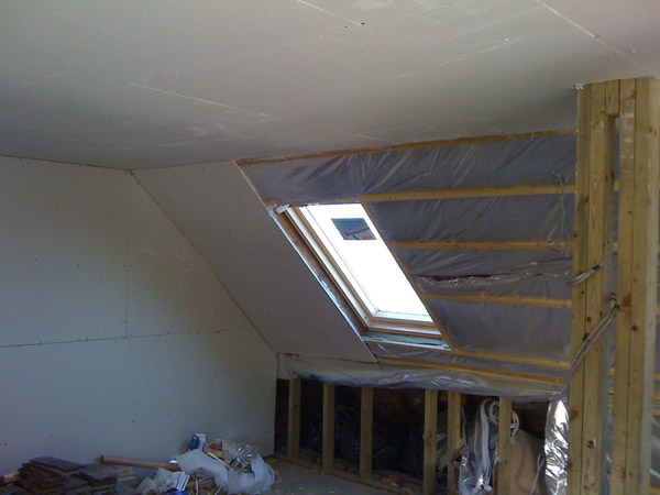 Part build loft conversion panelling and plasterboard