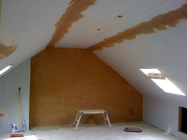 Part build loft conversion plasterboard