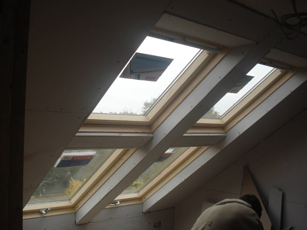 Part build loft conversion Velux window installation